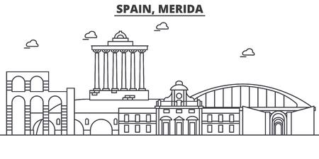 Spain, Merida architecture line skyline illustration.
