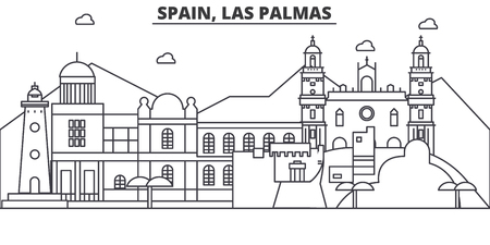 Spain, Las Palmas architecture line skyline illustration. Çizim