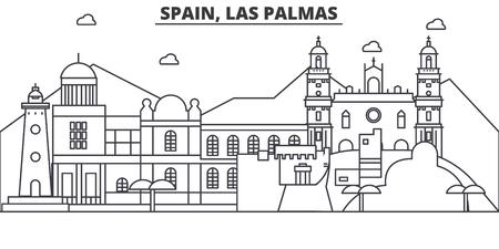 Spanje, Las Palmas-de horizonillustratie van de architectuurlijn. Stock Illustratie