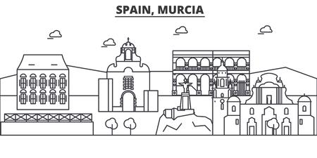 Spain, Murcia architecture line skyline illustration. Ilustração