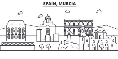 Spain, Murcia architecture line skyline illustration. Illustration