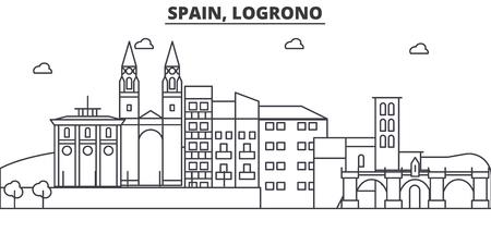 Spain, Logrono architecture line skyline illustration.