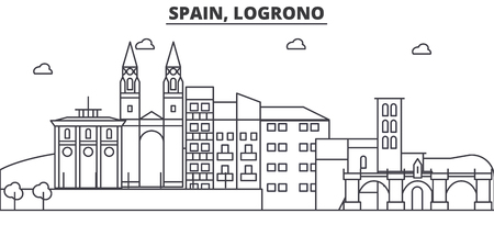 Spain, Logrono architecture line skyline illustration.