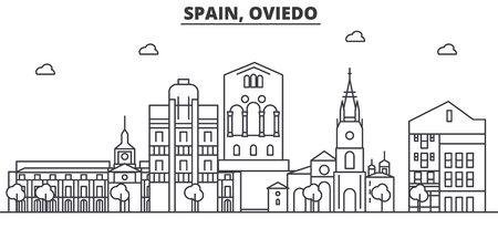 Spain, Oviedo architecture line skyline illustration.