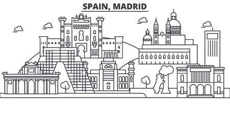 Spain, Madrid architecture line skyline illustration.