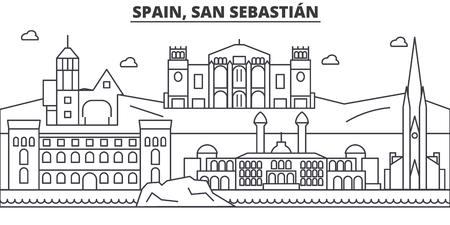 Spain, San Sebastian architecture line skyline illustration.