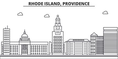 ロードアイランド州プロビデンス建築線スカイラインの図。  イラスト・ベクター素材