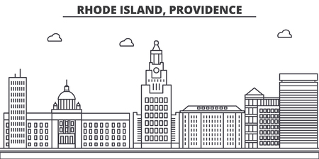 Rhode Island, Providence architecture line skyline illustration. Illustration