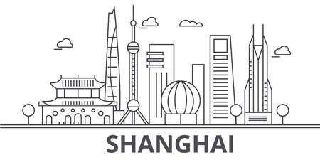 Shanghai architecture line skyline illustration.