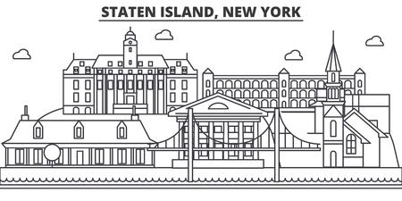 スタテン島、ニューヨーク建築線スカイラインの図。 写真素材 - 87751018