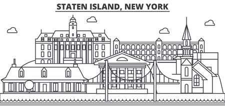 Staten Island, New York architecture line skyline illustration.