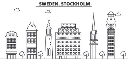 Schweden, Stockholm-Architekturlinie Skylineillustration. Standard-Bild - 87751020