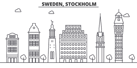 Sweden, Stockholm architecture line skyline illustration. Illustration