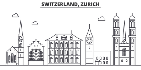 Switzerland, Zurich architecture line skyline illustration. Illustration