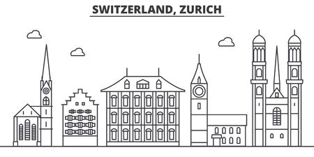 Zwitserland, Zürich architectuur lijn skyline illustratie.