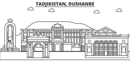 Tadjikistan, Dushanbe architecture line skyline illustration.