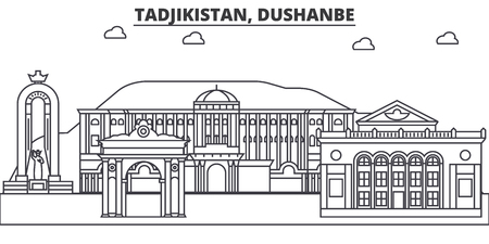 Tadjikistan, Dushanbe architecture line skyline illustration.