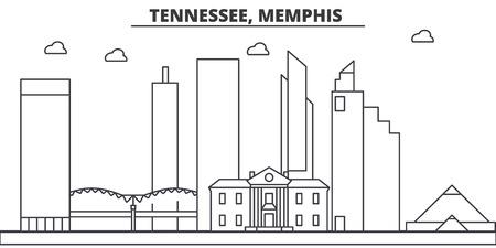 Tennessee, Memphis architecture line skyline illustration. Illustration