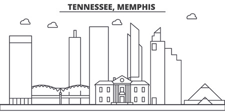 Tennessee, Memphis architecture line skyline illustration. Çizim