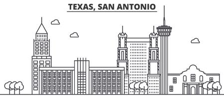 Texas San Antonio architecture line skyline illustration. Illustration