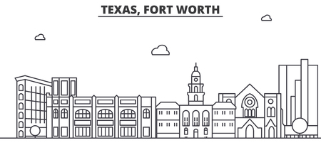 Texas Fort Worth architecture line skyline illustration.