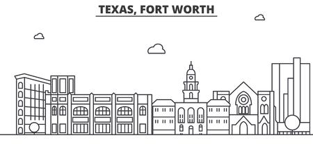 Texas Fort Worth de horizonillustratie van de architectuurlijn.
