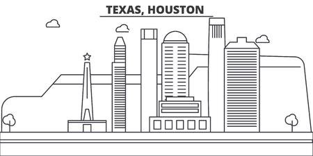 Texas, Houston architecture line skyline illustration. Иллюстрация