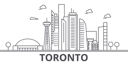 Toronto architecture line skyline illustration. Illustration