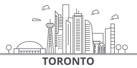 Toronto architecture line skyline illustration. Ilustração
