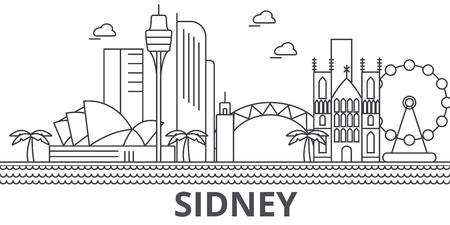 Sidney architecture line skyline illustration.
