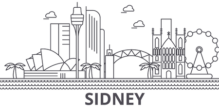 Sidney architecture line skyline illustration.