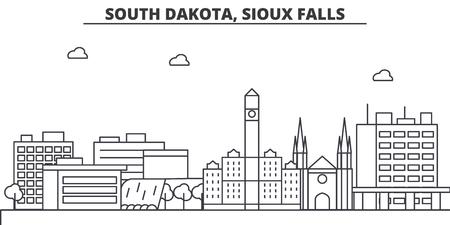 サウスダコタ州スーフォールズ建築線スカイラインの図。