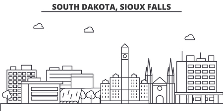 South Dakota, Sioux Falls architecture line skyline illustration. Illustration
