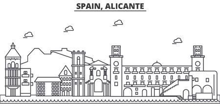 Spanje, Alicante de horizonillustratie van de architectuurlijn. Stock Illustratie