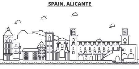 Spain, Alicante architecture line skyline illustration.