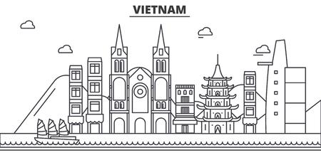 베트남 아키텍처 라인 스카이 라인 그림입니다. 일러스트