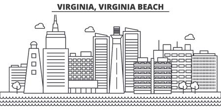 Virginia, Virginia Beach architecture line skyline illustration.
