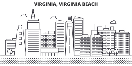 Virginia, Virginia Beach architecture line skyline illustration.