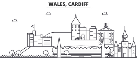 Wales, Cardiff architecture line skyline illustration.
