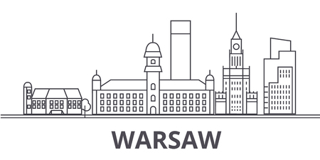 A Warsaw architecture line skyline illustration.