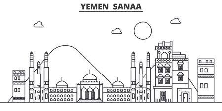 예멘, Sanaa 아키텍처 라인 스카이 라인 그림입니다.