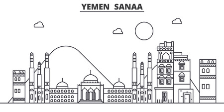 Yemen, Sanaa architecture line skyline illustration.