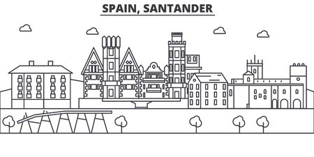 Spain, Santander architecture line skyline illustration. Illustration