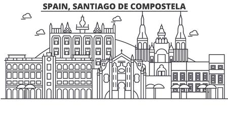 Spain, Santiago De Compostela architecture line skyline illustration.