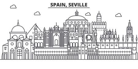 Spain, Seville architecture line skyline illustration. Иллюстрация