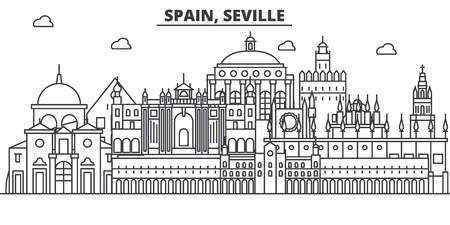 Spain, Seville architecture line skyline illustration. Illustration