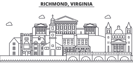 Richmond, Virginia architecture line skyline illustration.