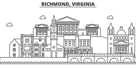 Richmond, Virginia architecture line skyline illustration.