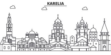 ロシア、カレリア建築線スカイラインの図。  イラスト・ベクター素材