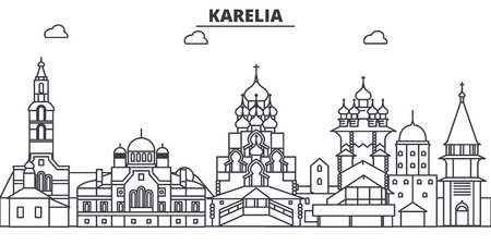 Russia, Karelia architecture line skyline illustration. Ilustrace